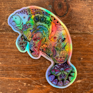Manatee Holographic Sticker