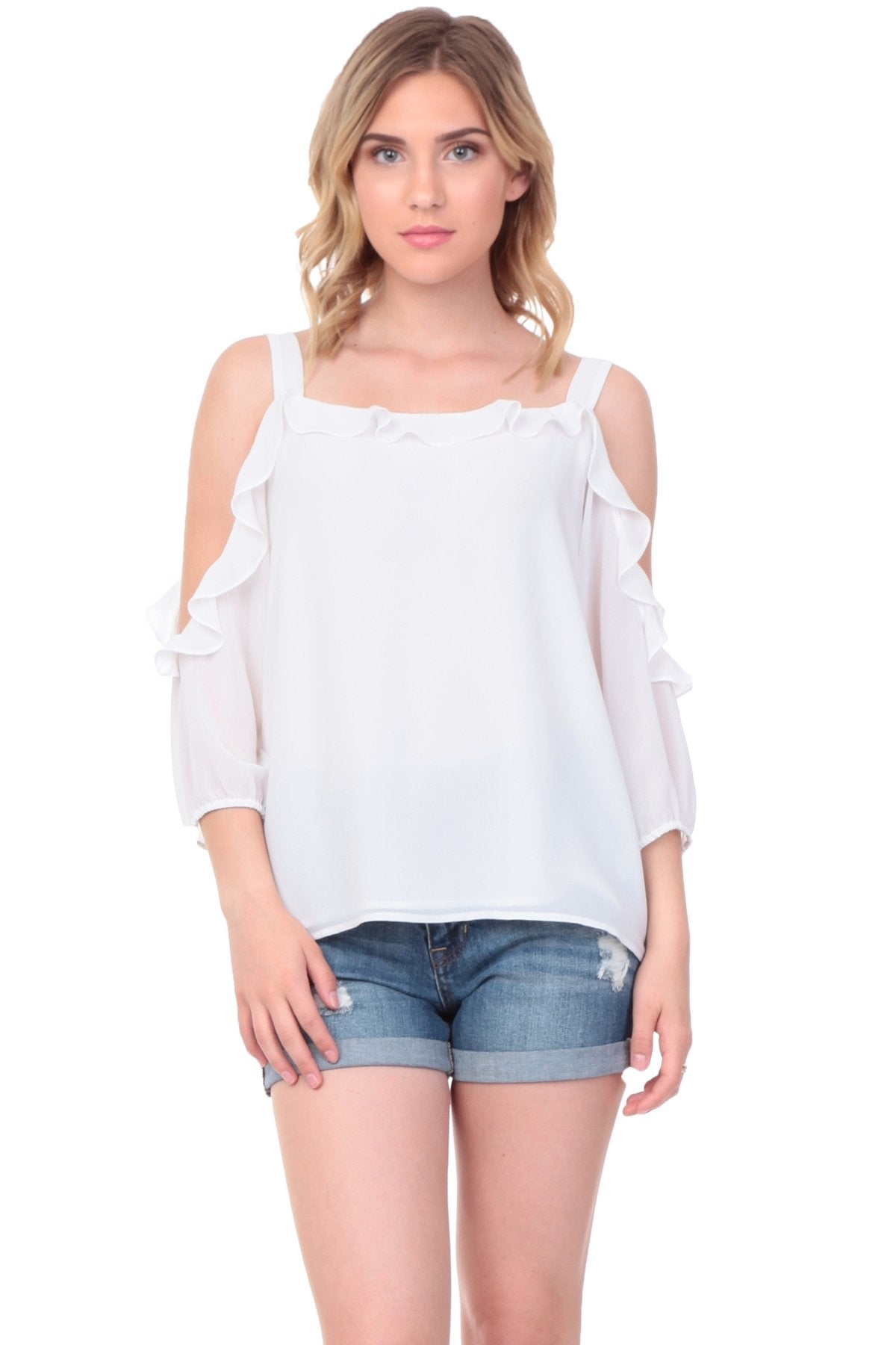 CYNTHIA SHOULDER RUFFLE BLOUSE