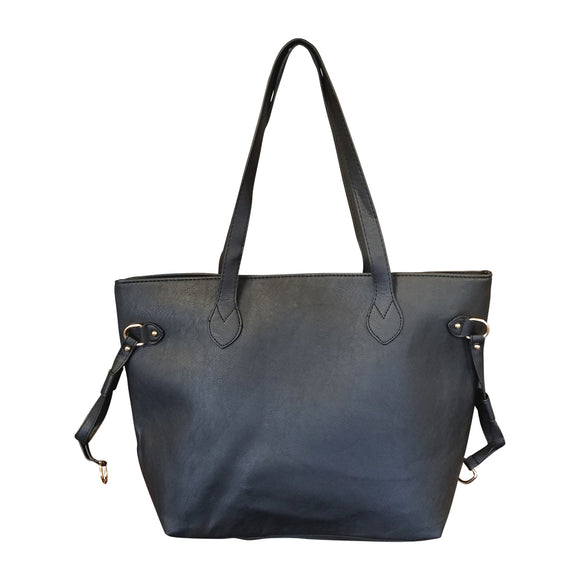 FAUX LEATHER HANDBAG WITH DETACHABLE SHOULDER STRAP