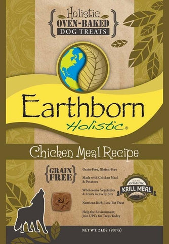 Earthborn Holistic Grain Free Oven Baked Biscuits Chicken Meal Recipe Dog Treats