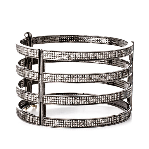 Four-Bar Diamond Cuff Bangle