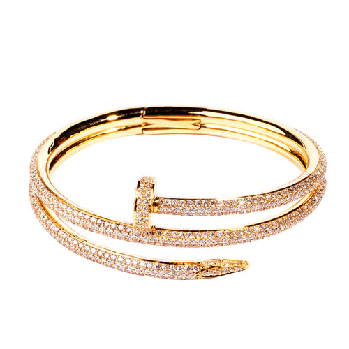 Single Nail Diamond Yellow Gold Bangle