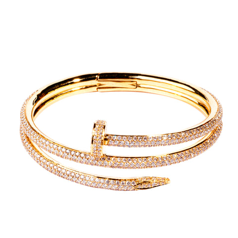 Sapphire & Diamond Slanted Bangle