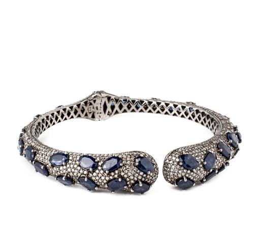 Sapphire & Diamond Open Bangle