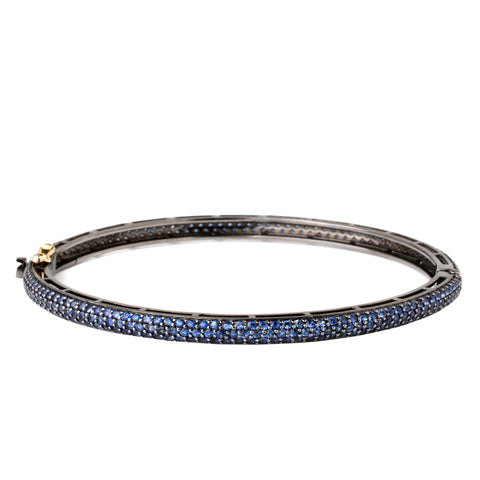 Sapphire & Diamond Honeycomb Bangle