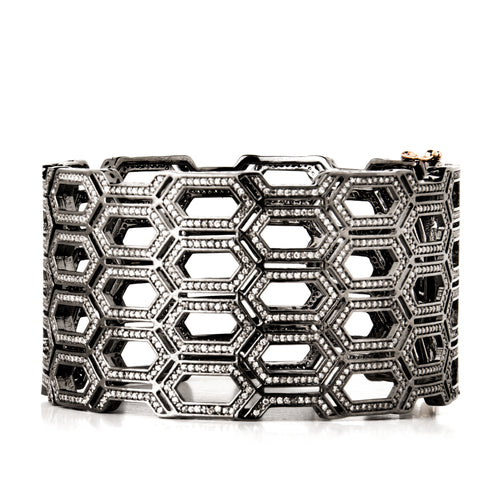 Modular Hexagon Diamond Bangle