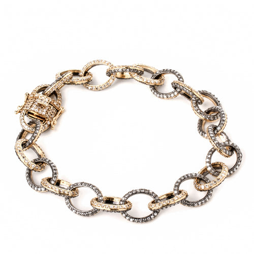 Diamond 1/2 Gold 1/2 Silver Link Bracelet