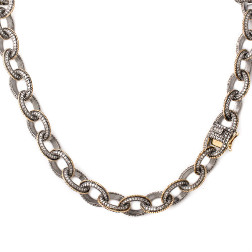"36"" Diamond & Gold Trim Link Chain"