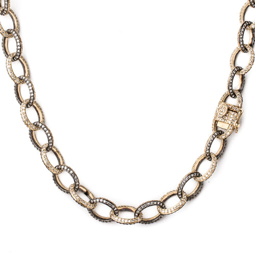 "36"" Diamond 1/2 Gold 1/2 Silver Link Chain"