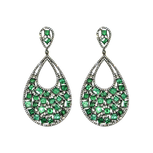 Emerald & Diamond Raindrop Earrings