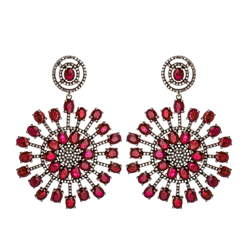 Ruby & Diamond Burst Earrings
