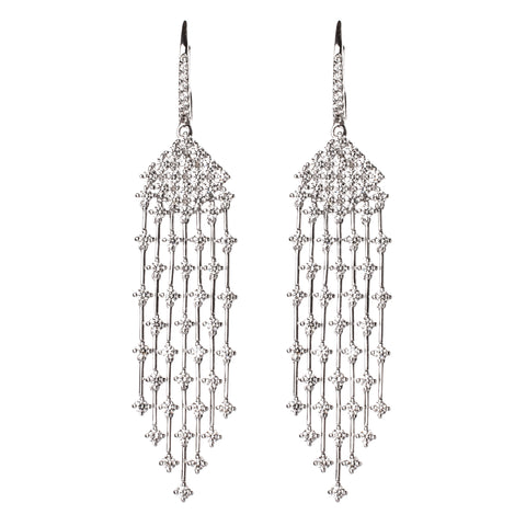Champagne & White Diamond Edged Rectangle Earrings