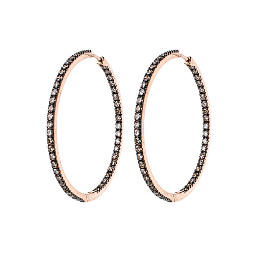 Champagne Diamond Rose Gold Hoops