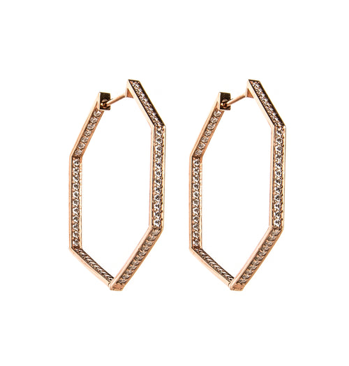Hexagon Rose Gold Hoop Earrings