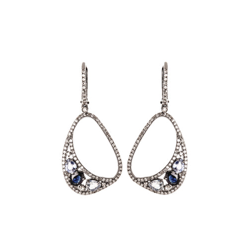 Sapphire & Diamond Deco Dangle Earrings