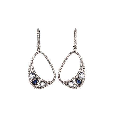 White Gold & Blue Topaz Crystal Rain Earrings