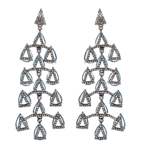 Blue Topaz & Diamond Waterfall Earrings