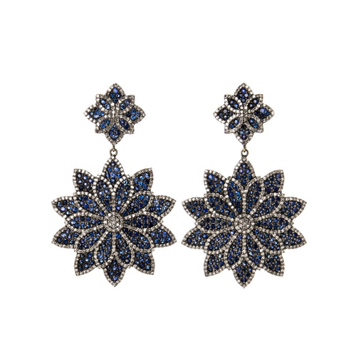Sapphire & Diamond Dahlia Flower Earrings