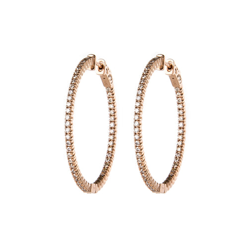 Rose Gold & Diamond Textured Hoops