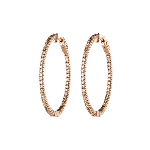 Rose Gold & Diamond Small Rings of Saturn Earrings