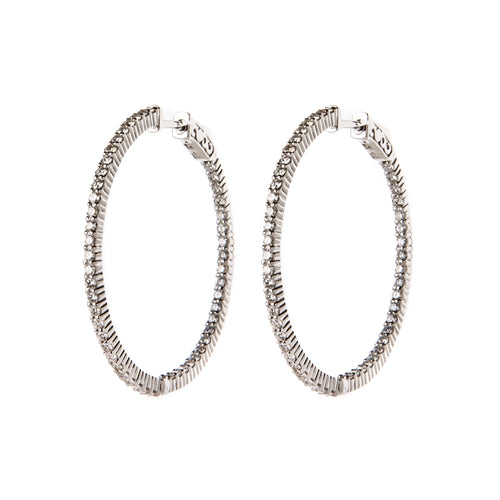 White Gold & Diamond Textured Hoops