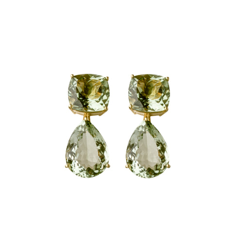 Green Amethyst Dharma Earrings