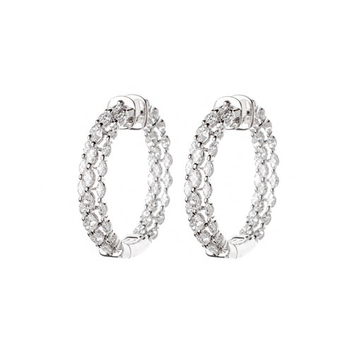 White Gold & Diamond Modern Oval Earrings
