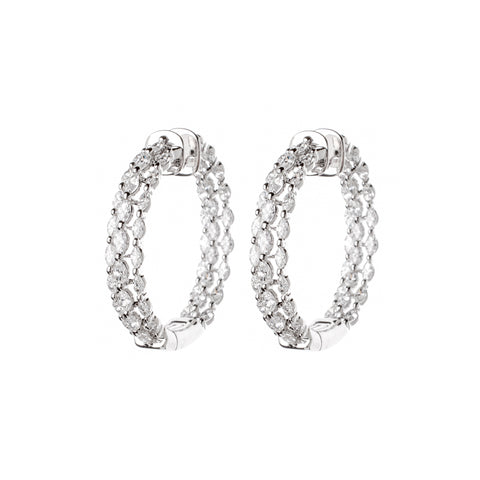 Champagne & White Diamond Circle In Square Earrings