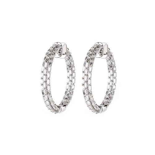 White Gold & Diamond Modern Dash Earrings