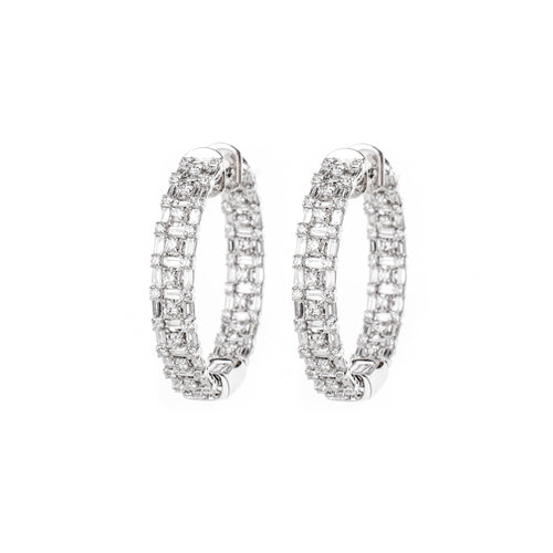 White Gold & Diamond Modern Gingham Earrings