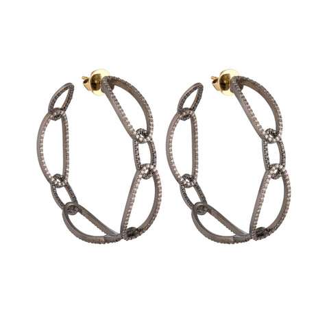 Medium Black Diamond Hoops
