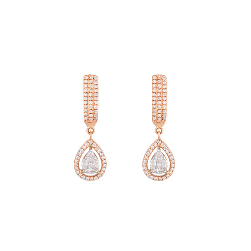 Rose Gold & Diamond Droplet Earrings