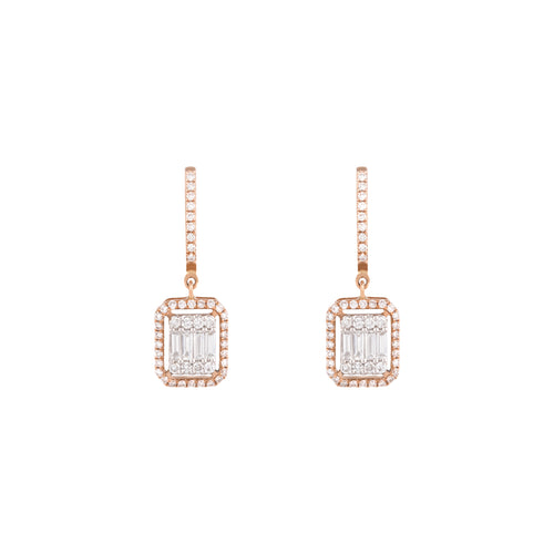 Rose Gold & Diamond Parallel Earrings