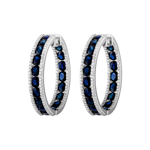Diamond & Sapphire Hepburn Hoop Earrings