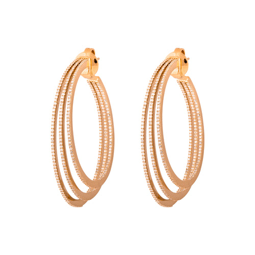 Rose Gold & Diamond Trinity Hoops