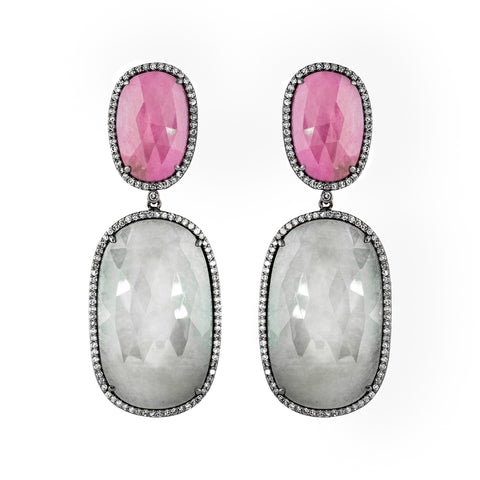 Ruby, Sapphire, & Diamond Ethereal Sunbeams Earrings
