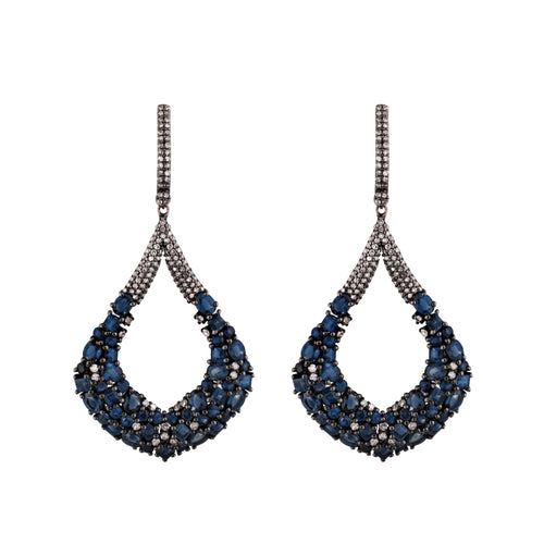 Diamond & Sapphire Blue Wisteria Earrings