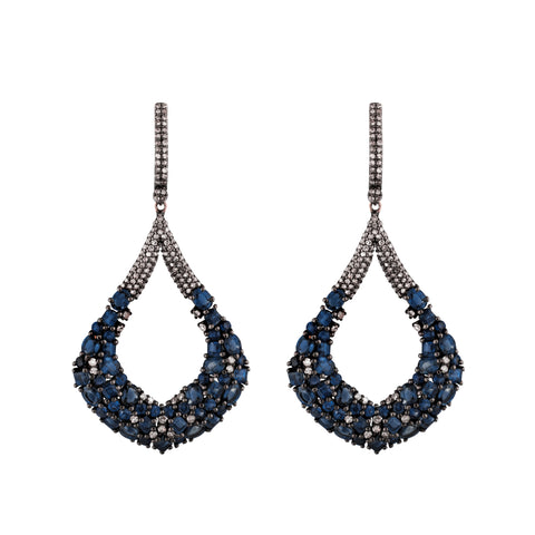 Sapphire & Diamond Mystic Mandala Earrings