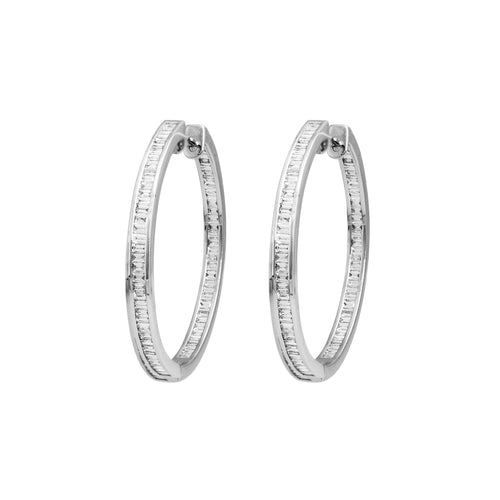 White Gold & Baguette Horizon Earrings II