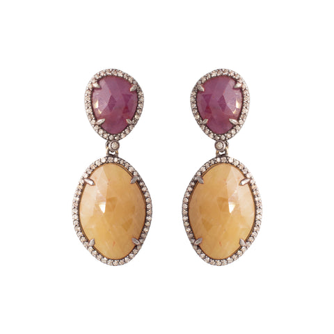Rose Gold & Amethyst Gipsy Earrings