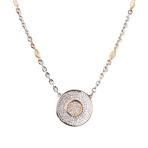 White & Rose Gold Diamond Oracle Necklace