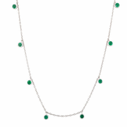 Emerald Rhea White Gold Necklace
