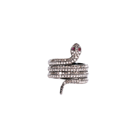 Nine Ruby & Diamond Square Ring
