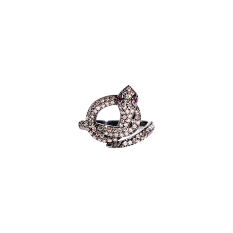 Champagne & White Diamond Cosmic Moon Ring