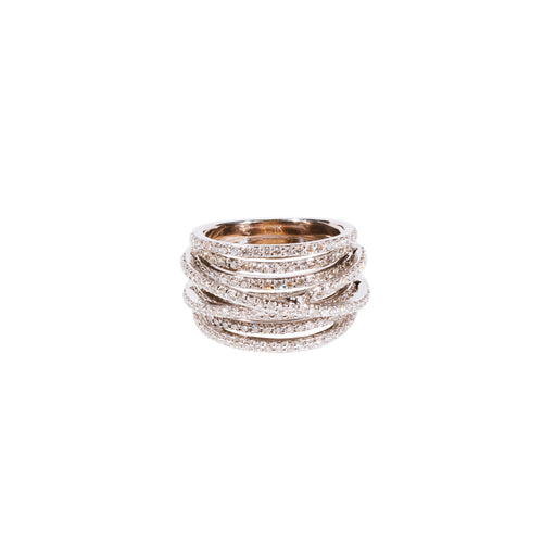 Multi-Line Criss-Cross Diamond Ring