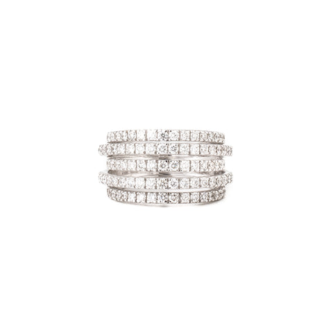 Nine Emerald & Diamond Square Ring