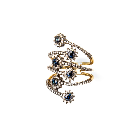 Sapphire & Diamond Three Row Ring