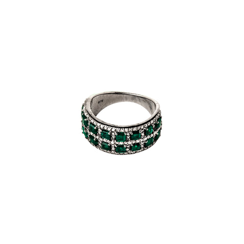 Emerald & Diamond 2 Row Ring