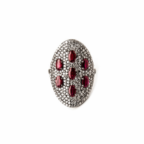 Four Ruby & Diamond Blossoms Ring