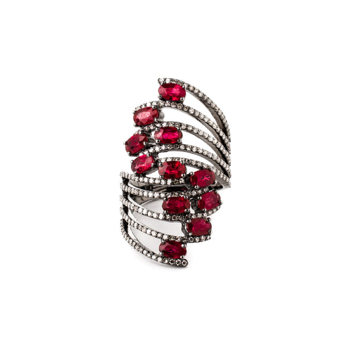 Ruby & Diamond Ocean Wave Ring
